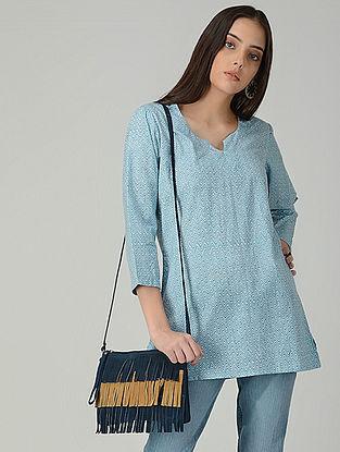 Blue-Ivory Printed Cotton Short Kurta