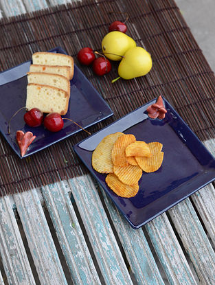 Square Plates with Champa Flower-Set of 2 6in x 6in x 1.5in