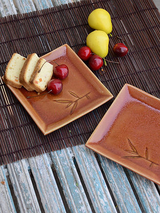 Square Plate with Bamboo Leaf-Set of 2 5.7in x 5.7in x 0.7in