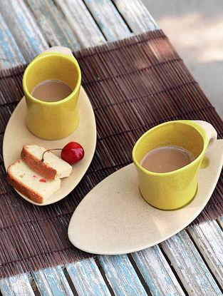 Mug with Oval Saucer-Set of 2