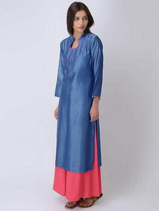 Blue Chanderi Kurta with Embroidered Yoke