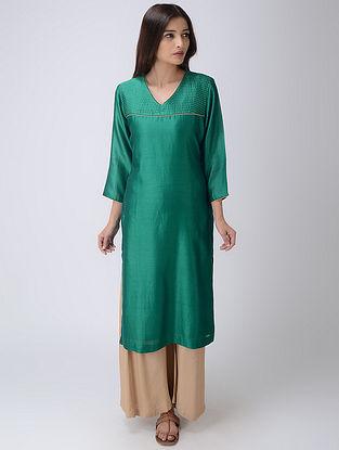Green V-neck Chanderi Kurta