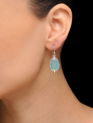 Aqua Blue Silver Tone Brass Earrings