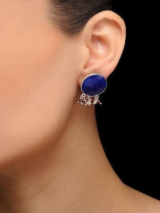 Blue Silver Tone Brass Stud Earrings