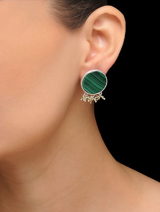 Green Silver Tone Brass Stud Earrings