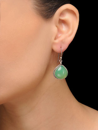 Green Silver Tone Brass Earrings