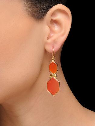Orange Gold Tone Brass Earrings
