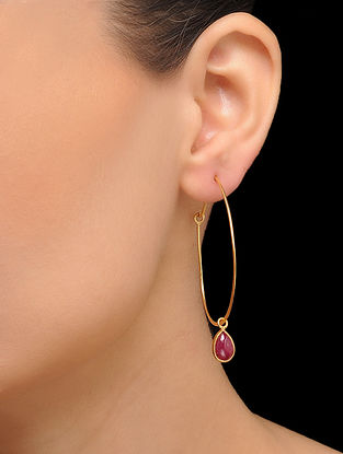 Purple Gold Tone Brass Hoops