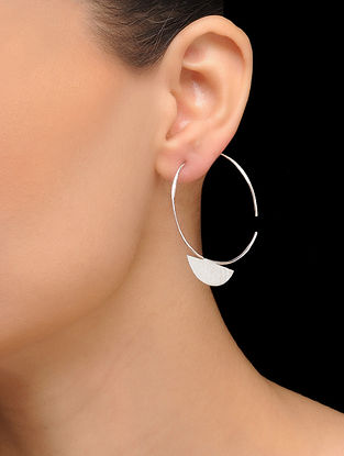 Classic Silver Tone Brass Hoops