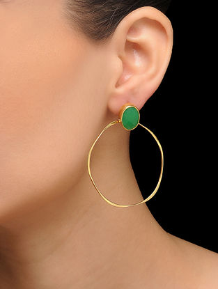 Green Gold Tone Brass Earrings