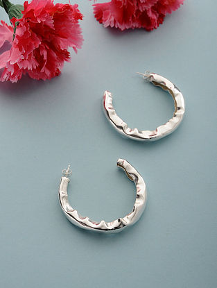 Classic Silver Plated Brass Hoops