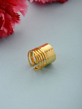 Classic Gold Plated Adjustable Brass Ring