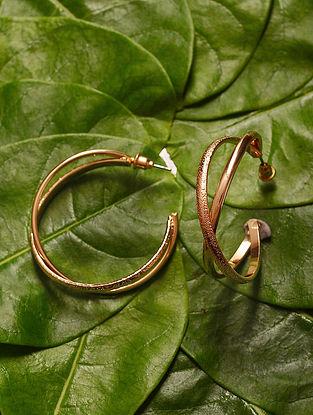 Gold Tone Handcrafted Hoop Earrings