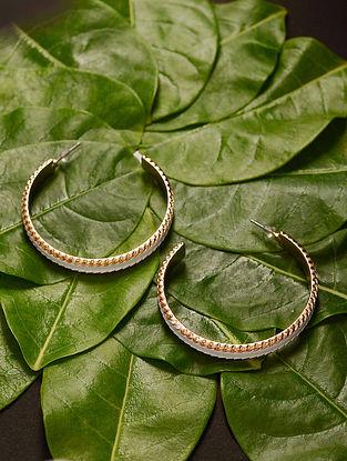 White Gold Tone Handcrafted Hoop Earrings