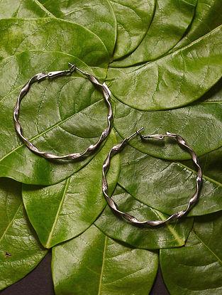 Silver Tone Handcrafted Hoop Earrings