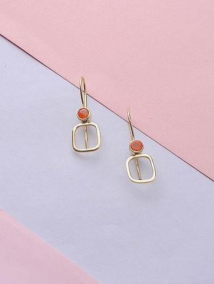 Orange Gold Tone Handcrafted Earrings