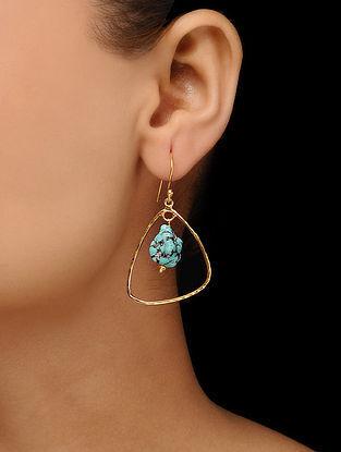 Blue Gold Tone Brass Earrings