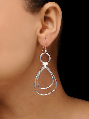 Silver Tone Brass Earrings