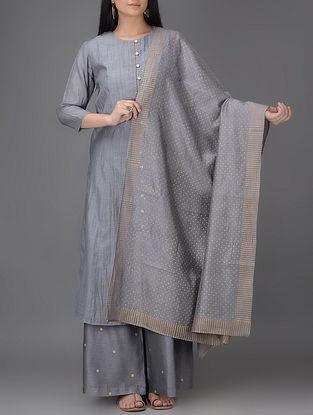 Grey Khari-printed Chanderi Dupatta