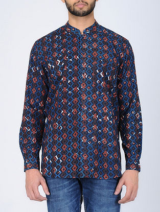 Blue Full Sleeve Bagru-Printed Cotton Shirt