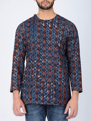 Blue Full Sleeve Bagru-Printed Cotton Kurta