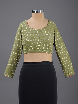 Green-Ivory Block-printed Cotton Blouse with Mashru Piping