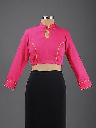Pink Cotton Blouse with Mashru Piping