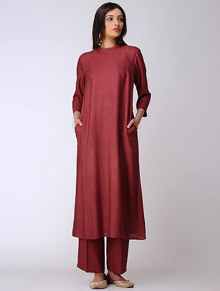 Maroon Cotton Tussar Kurta with Zari Work