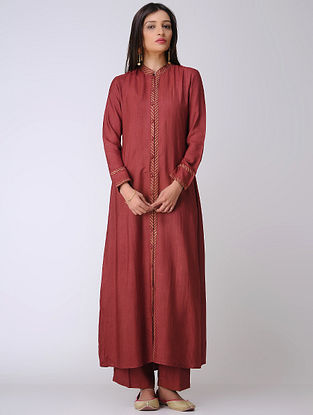 Maroon Cotton Tussar Kurta with Block-printed Details
