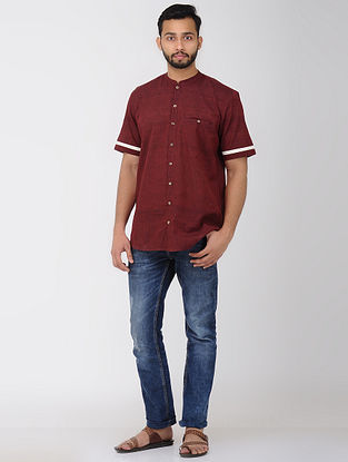 Maroon Half Sleeve Shirt with Front Pocket