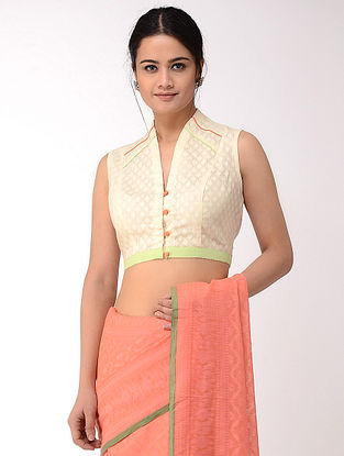 Ivory-Green Block-printed Cotton Dobby Blouse