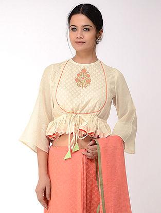 Ivory-Orange Block-printed Cotton Dobby Blouse