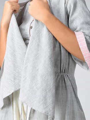 Grey Handwoven Cotton Khadi Shrug