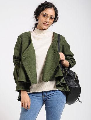 Green Cotton Crop Jacket