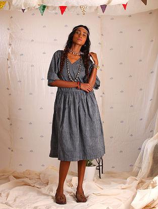Grey Block-printed Cotton Wrap Dress