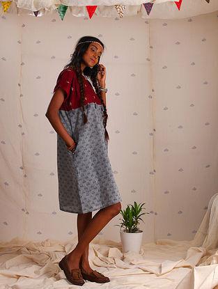Grey-Maroon Block-printed Cotton Dress