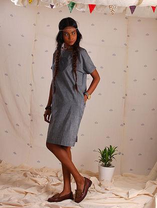 Grey Block-printed Cotton Dress
