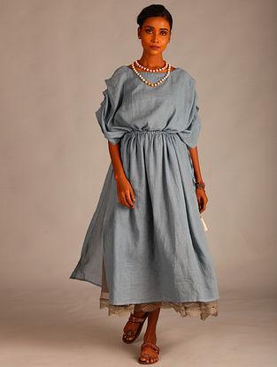 Blue Cotton Dobby Kaftan with Drawstring