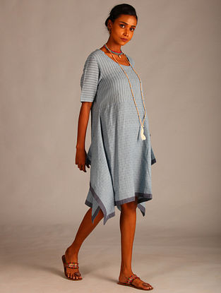Blue Assymetric Cotton Dobby Tunic