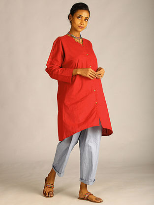 Maroon Front Open Cotton Tunic with Stitch Detail