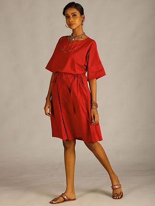 Maroon Cotton Dress with Stitch Detail