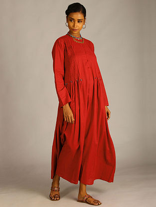 Maroon Cotton Dress with Pleats