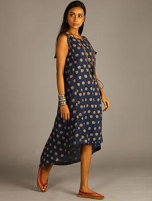 Indigo Block Printed Linen Angrakha Wrap dress