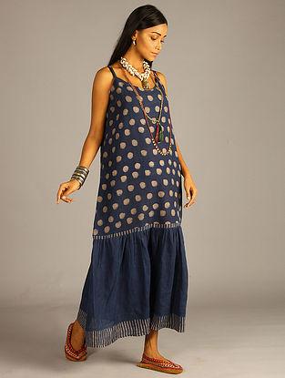 Indigo Block Printed Linen Dress