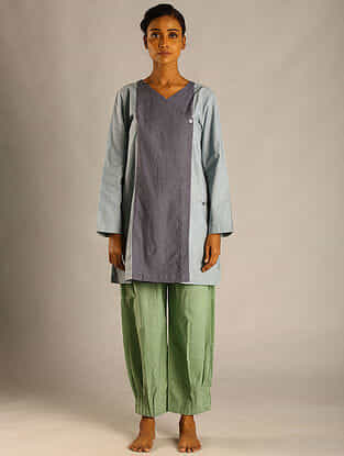Grey Panelled Cotton Tunic