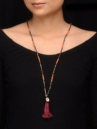 Orange Gold Glass Beaded Handcrafted Necklace