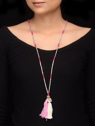 Pink White Glass Beaded Handcrafted Necklace