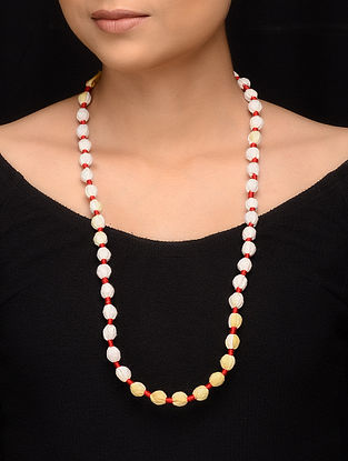 White Red Fabric Beaded Handcrafted Necklace