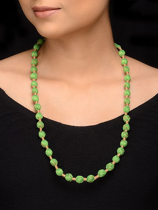 Green Gold Fabric Beaded Handcrafted Necklace