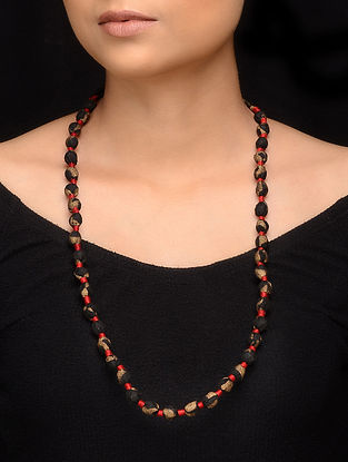 Black Red Fabric Beaded Handcrafted Necklace